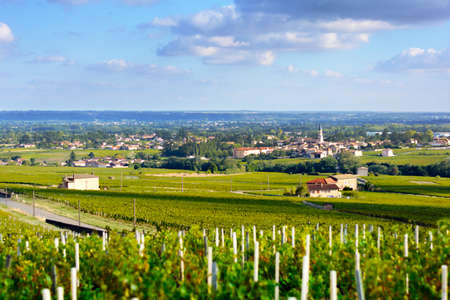 crus: Romaneche village and vineyards, Beaujolais, France Stock Photo