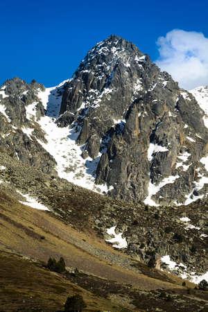 tourism in andorra: Peak of mountain at Andorra Stock Photo