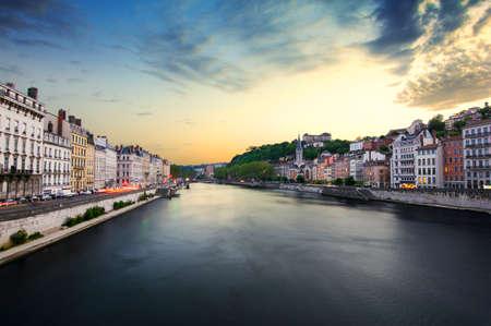 lyon: Old city of Lyon at sunset, France
