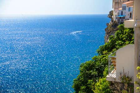 Terrace with view on the sea, Bonifacio, Corsica Stock Photo