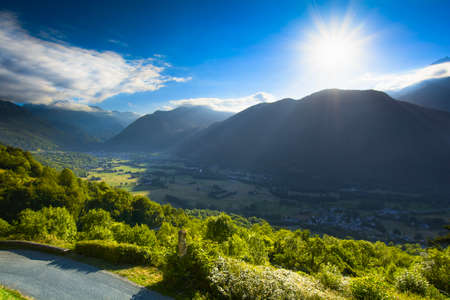 france station: Valley and peak of Pyrenean mountains with a blue sky, France