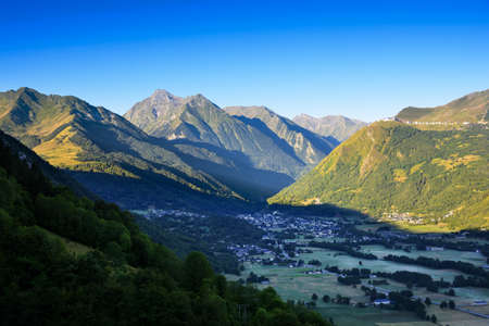 france station: Saint Lary Soulan city and ski station, and his valley with first lights of the day