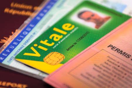 フランスのドライバーのライセンスと id の紙、カード
