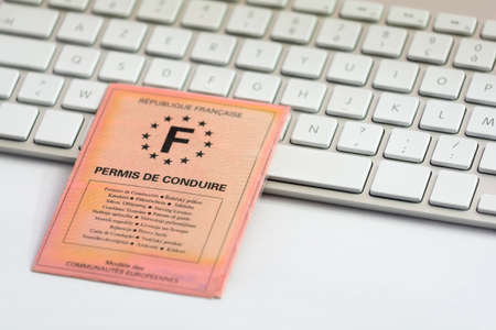 licence: French driver licence and white keyboard