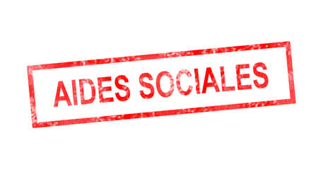 and worn out: Social support in French translation in red rectangular stamp Stock Photo