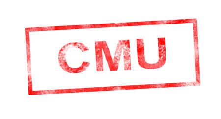 moneyless: CMU in red rectangular stamp Stock Photo