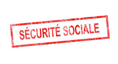 moneyless: Social welfare in French translation in red rectangular stamp Stock Photo