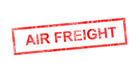 air freight: Air freight in red rectangular stamp Stock Photo