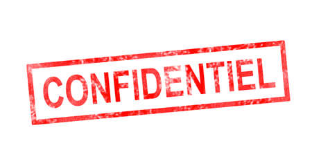 Confidential in French translation in red rectangular stamp