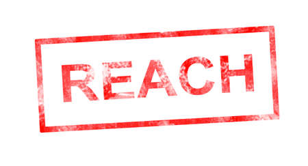 Reach in red rectangular stamp Stock Photo