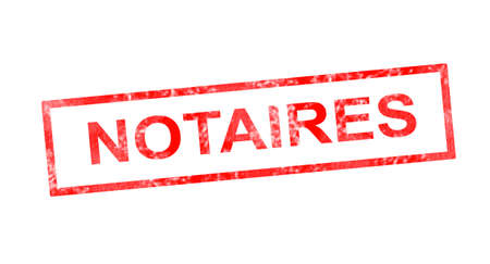 notary: Notary in French translation in red rectangular stamp Stock Photo