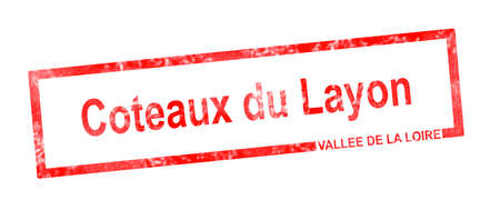 Vallee de la Loire and Coteaux du Layon vineyard appellation in a red rectangular stamp