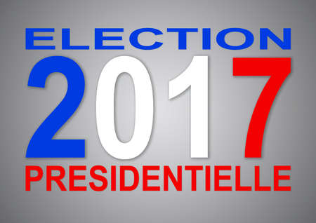 hustings: Presidential elections 2017 in French with blue with and red colors and grey background