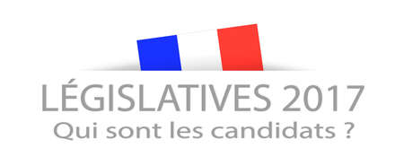 hustings: Legislative elections and candidates in French with a part hidden french flag