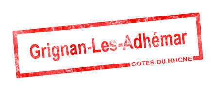 viticulture: Cotes du rhone and Grignan les Adhemar vineyard appellation in a red rectangular stamp