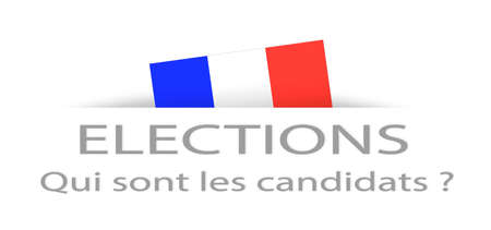 hustings: Elections and candidate in French with a part hidden french flag Stock Photo