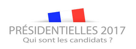 hustings: Presidential elections and candidates in French with a part hidden french flag Stock Photo