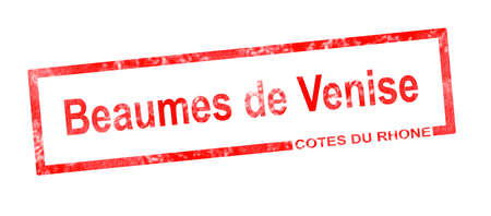 viticulture: Cotes du rhone and Beaumes de Venise vineyard appellation in a red rectangular stamp