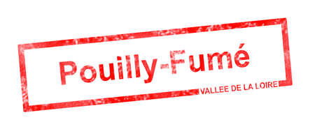 fume: Vallee de la Loire and Pouilly Fume vineyard appellation in a red rectangular stamp