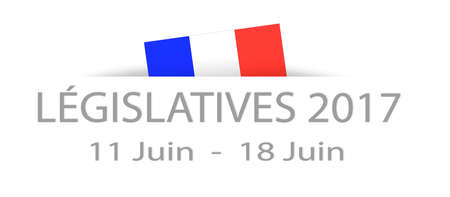 Legislative elections 2017 in French with dates and a part hidden french flag Stock Photo