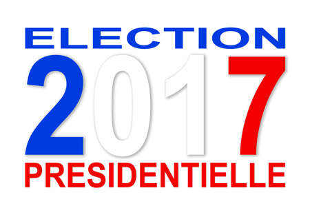 presidential: Presidential elections 2017 in French with blue with and red colors and white background Stock Photo