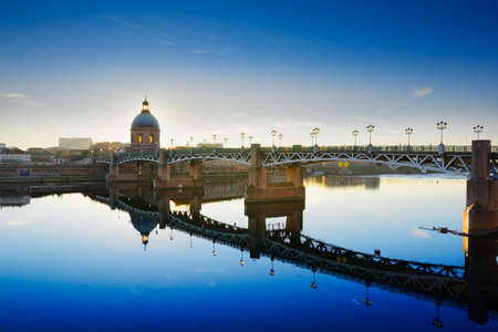 Along the Garonne river at Toulouse city before sunset in  France Stock Photo