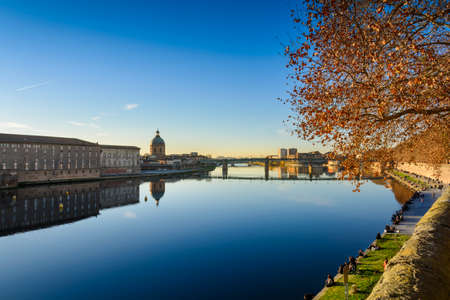 Toulouse city and Garonne river during a sunny day