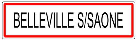 wine road: Belleville sur Saone city traffic sign illustration in France
