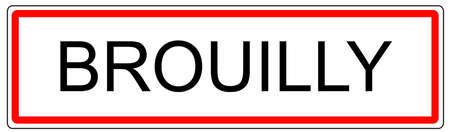 wine road: Brouilly city traffic sign illustration in France Stock Photo