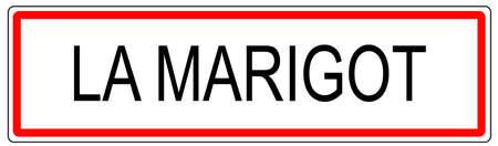 Le panneau de signalisation de la ville en France Marigot illustration