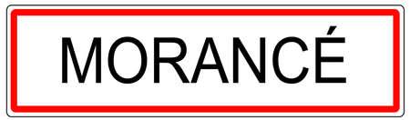 city limit: Morance city traffic sign illustration in France