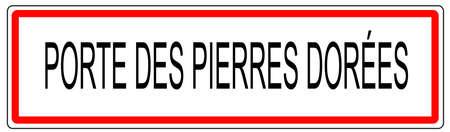 wine road: Porte des Pierres dorees city traffic sign illustration in France