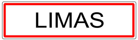 wine road: Limas city traffic sign illustration in France Stock Photo