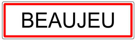 wine road: Beaujeu city traffic sign illustration in France Stock Photo