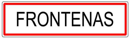 wine road: Frontenas city traffic sign illustration in France