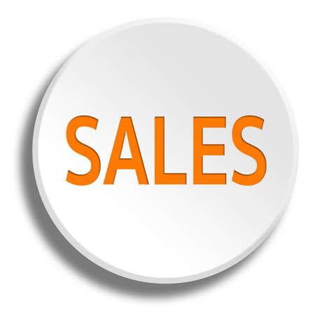 remittance: Orange sales in round white button with shadow