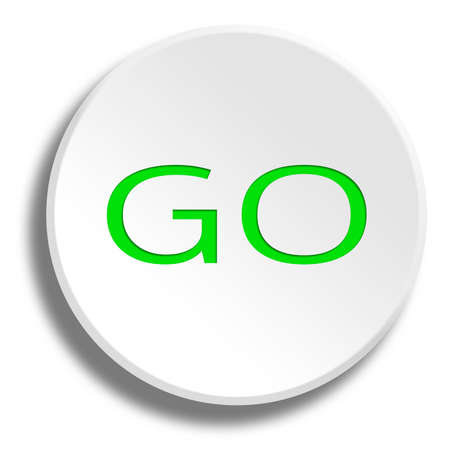 Green Go in round white button with shadow Stock Photo