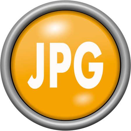Orange design JPG in round 3D button Фото со стока