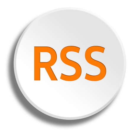 Orange rss in round white button with shadow