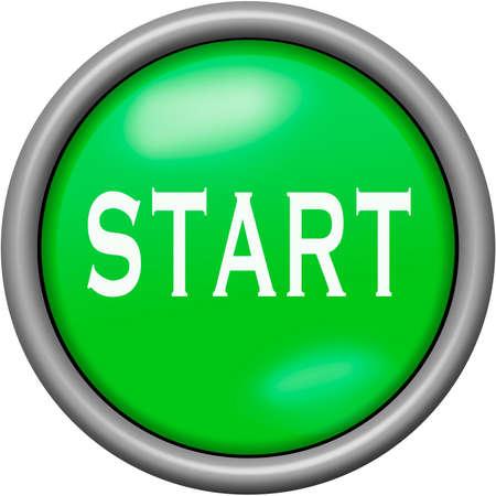 Green design start in round 3D button Stock Photo