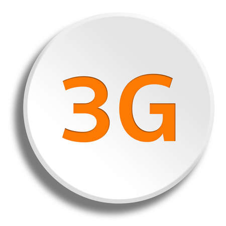 3g: Orange 3G in round white button with shadow