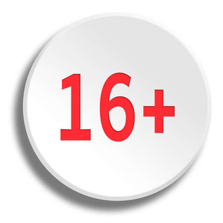 12: Red 16 years in round white button with shadow