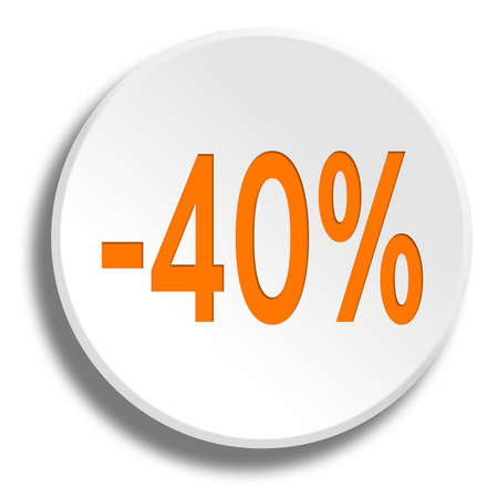 Orange 40 percent in round white button with shadow