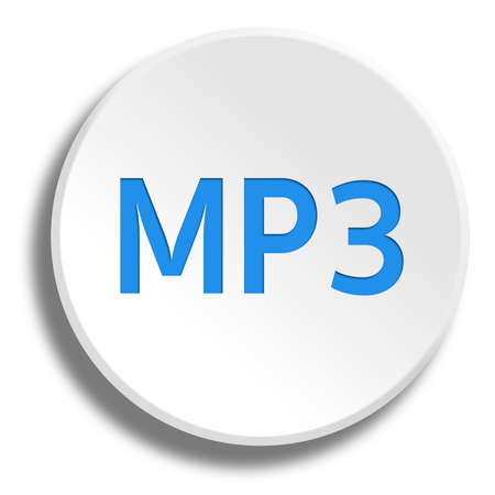 Blue MP3 in round white button with shadow Фото со стока
