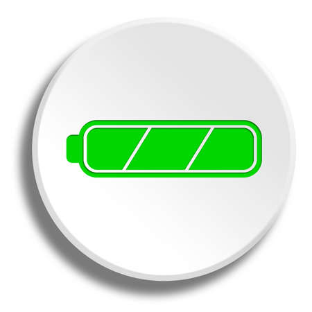 ful: Green ful battery in round white button with shadow