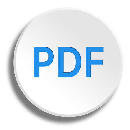 Blue PDF in round white button with shadow Фото со стока