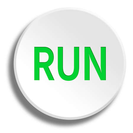 Green run in round white button with shadow