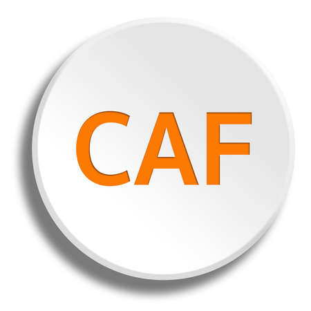 caf: Orange CAF in round white button with shadow Stock Photo