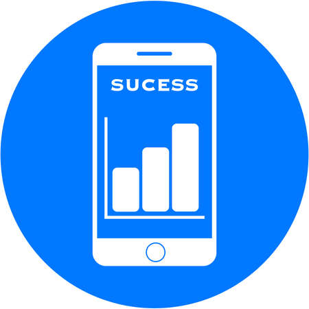 Blue sucess design in a flat round button Stock Photo