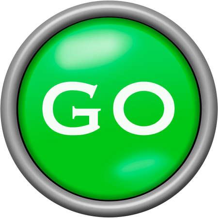 Green design go in round 3D button Stock Photo